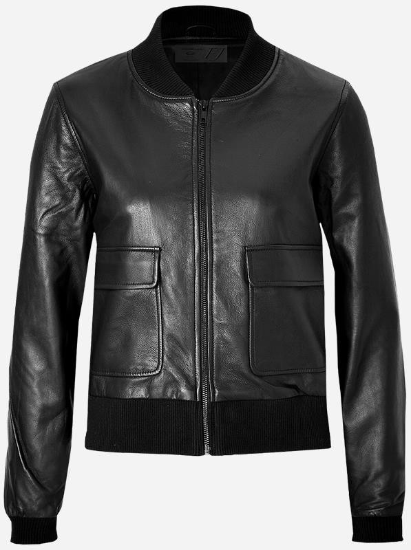 2 Pocket Women's Black Bomber Leather Jacket