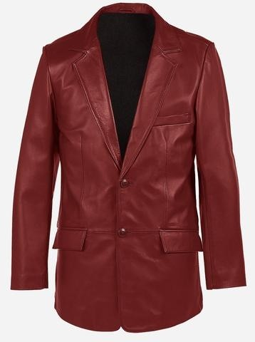 2 Buttons Classic Premium Maroon Cowhide Leather Coat for Men