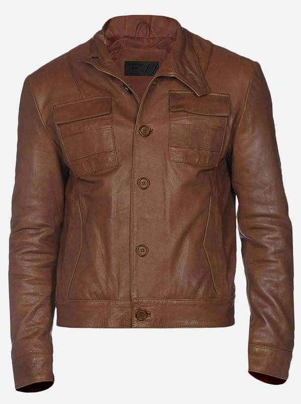 Chestnut Brown Leather Jacket for Men