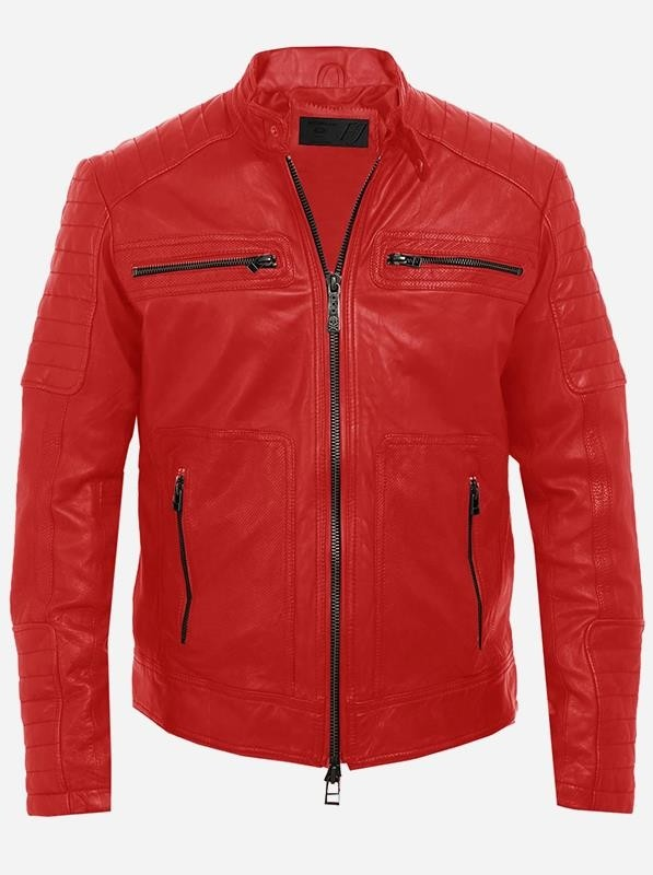 Biker Style Men Red Leather Jacket