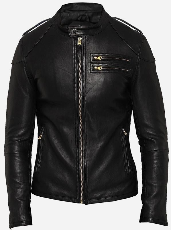 Black Cafe Racer Designer Leather Jacket for Men