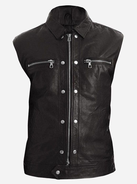 Men Black Fashion Leather Vest