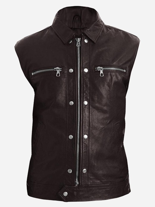 Men Brown Fashion Leather Vest