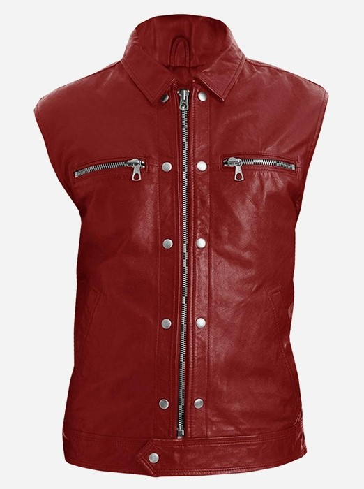 Men Maroon Fashion Leather Vest
