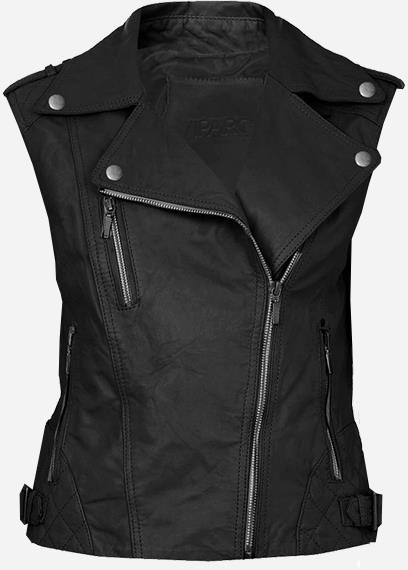 Cool Double Rider Quilted Women's Black Leather Vest
