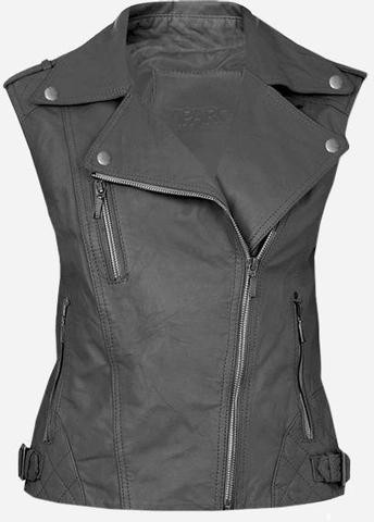 Cool Double Rider Quilted Women's Gray Leather Vest