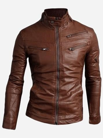 intage Brown Leather Motorcycle Jacket