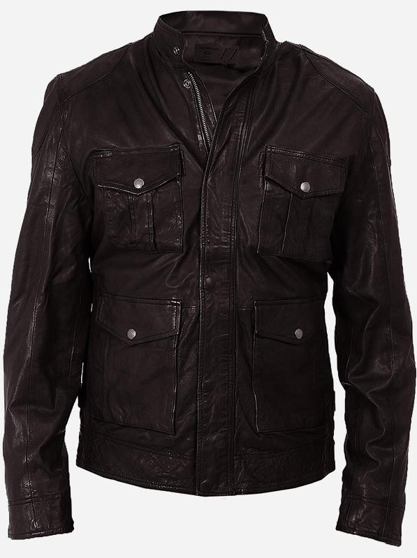 Fitted Moto 4 Pocket Men Brown Leather Jacket