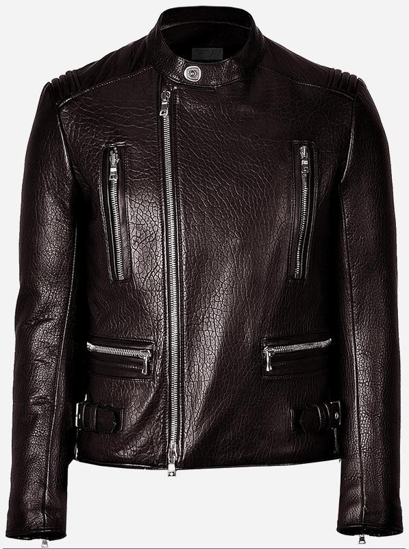 Fitted Moto Racer Men Brown Biker Leather Jacket
