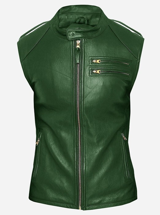Fitted Moto Racer Men Green Leather Vest