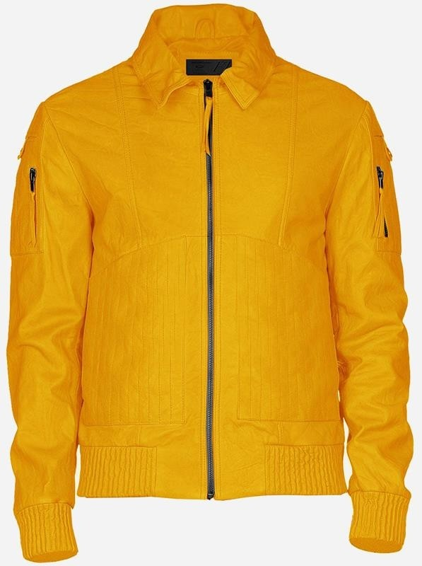 Handmade Cool Men's Yellow Leather Jacket
