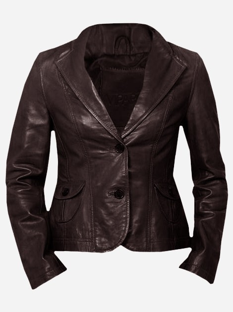 Lightweight 2 Button Women's Brown Leather Coat