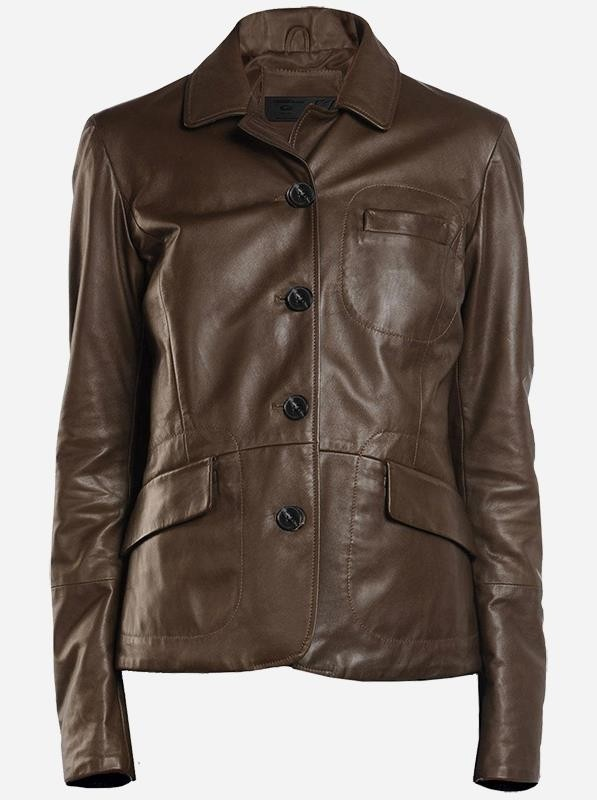 Ladies Brown Leather Blazer