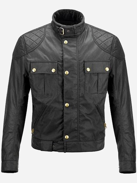 Luxuriant Black Spiked Leather Jacket for Men