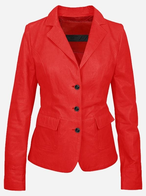 Luxurious 3 Button Women's Red Leather Blazer