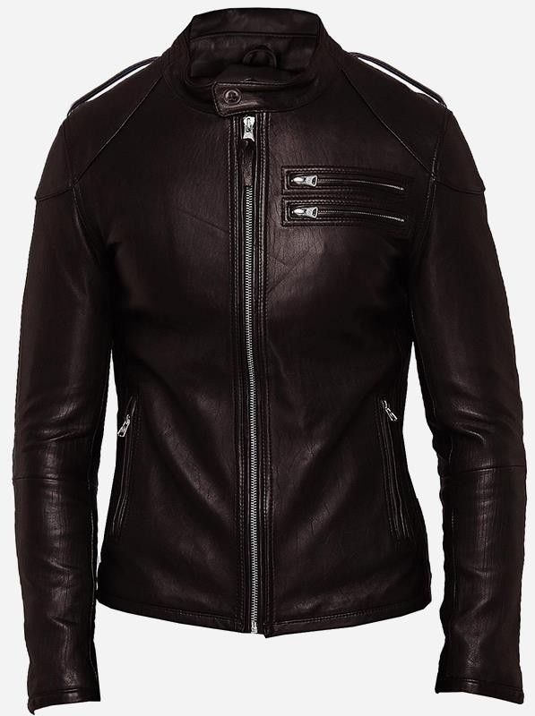 Men Brown Designer Street Fashion Leather Jacket