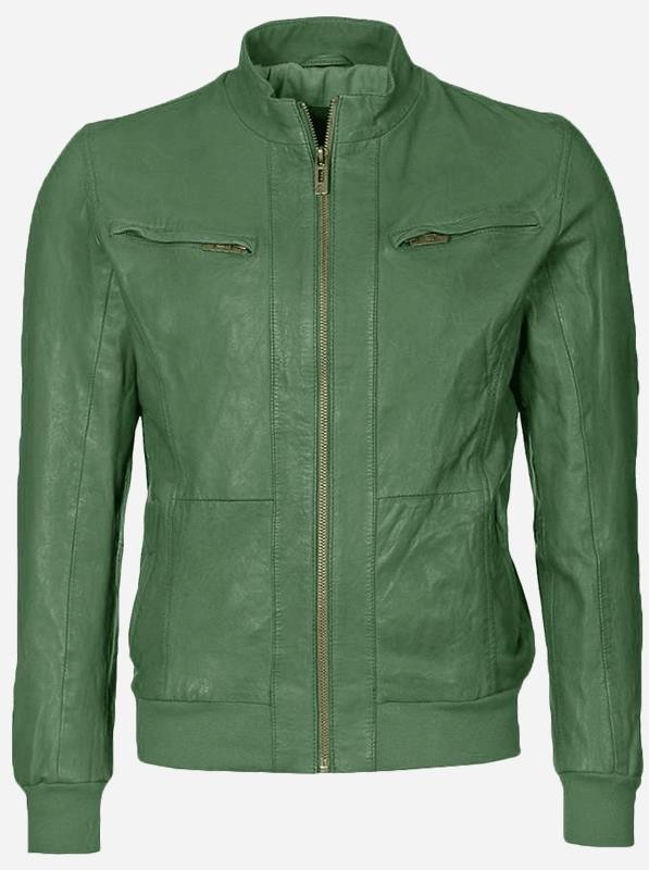 Cool Bomber Men Green Leather Jacket