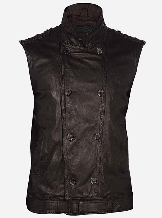Men Reefer Brown Leather Vest