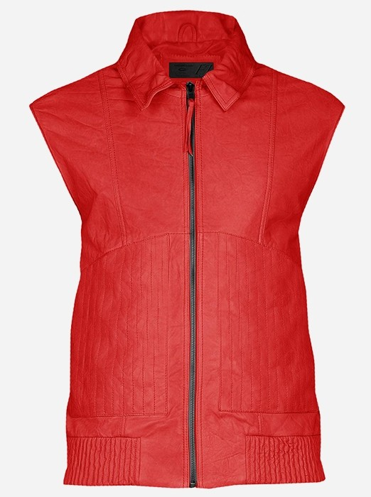 Soft Men Bomber Red Leather Vest