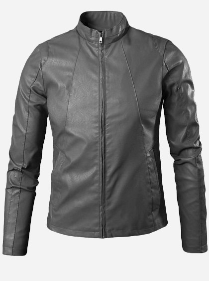 Charcoal Grey Leather Jacket