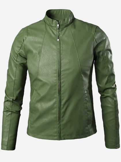Stand Up Collar Leather Jacket