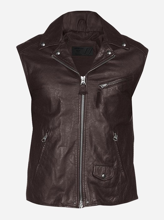 Classic Zipper Men Brown Leather Vest