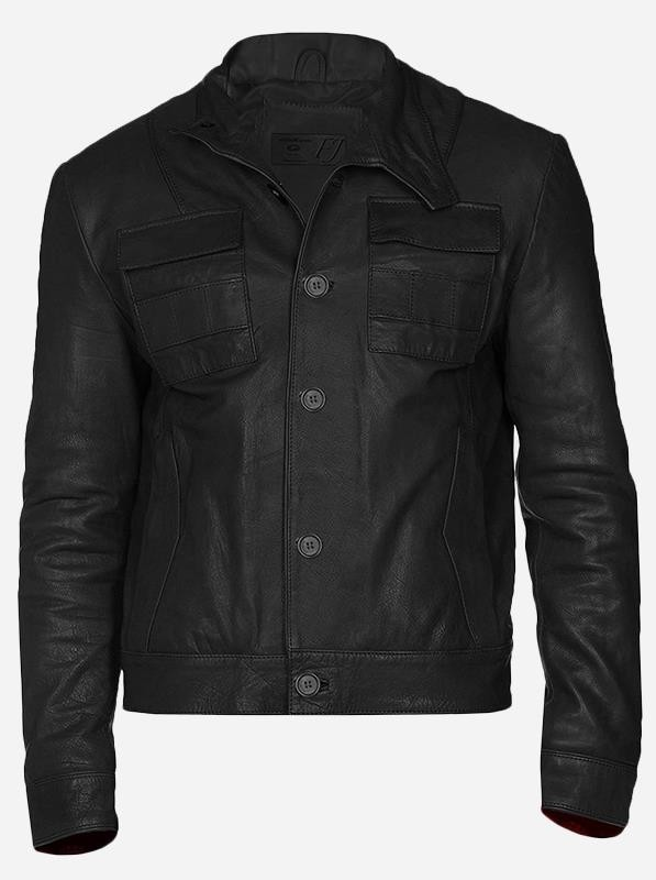 Button Leather Jacket for Men