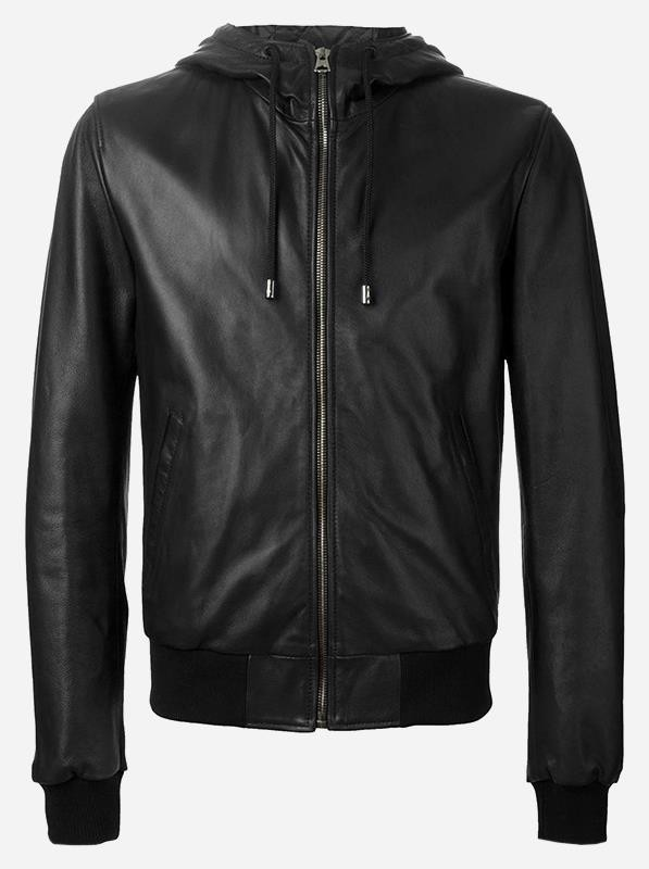 Men Winter Leather Jacket with Hood