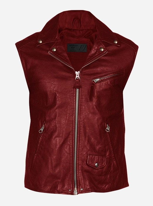 Classic Zipper Vintage Men Maroon Leather Vest