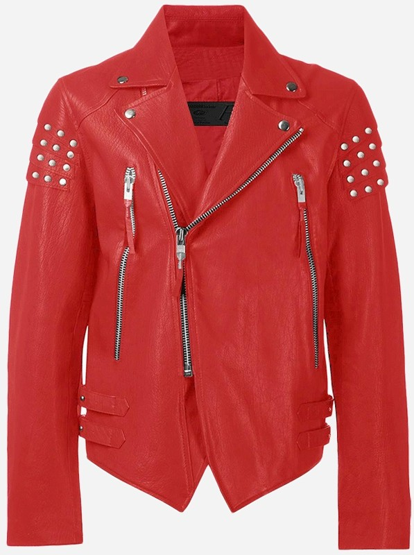 Premium Men's Red Studded Leather Jacket