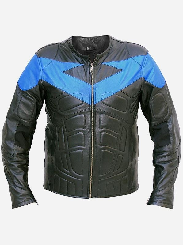 Movie Nightwing Leather Jacket with Foam Padding