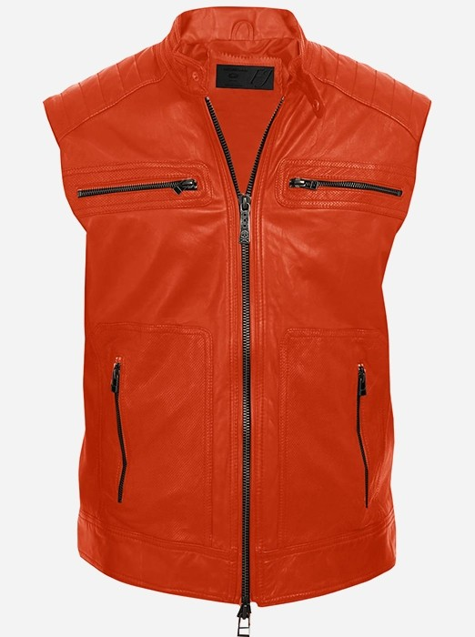 Orange Motorcycle Leather Vest for Men