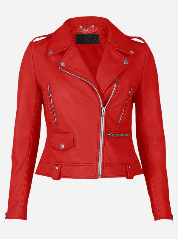 Party Wear Red Leather Jacket for Women