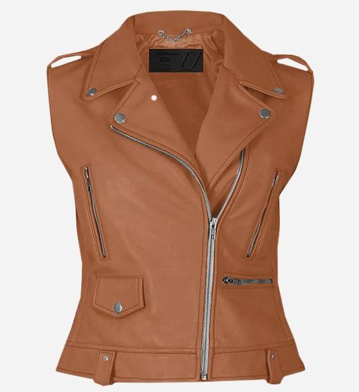 Party Wear Tan Leather Vest for Wome