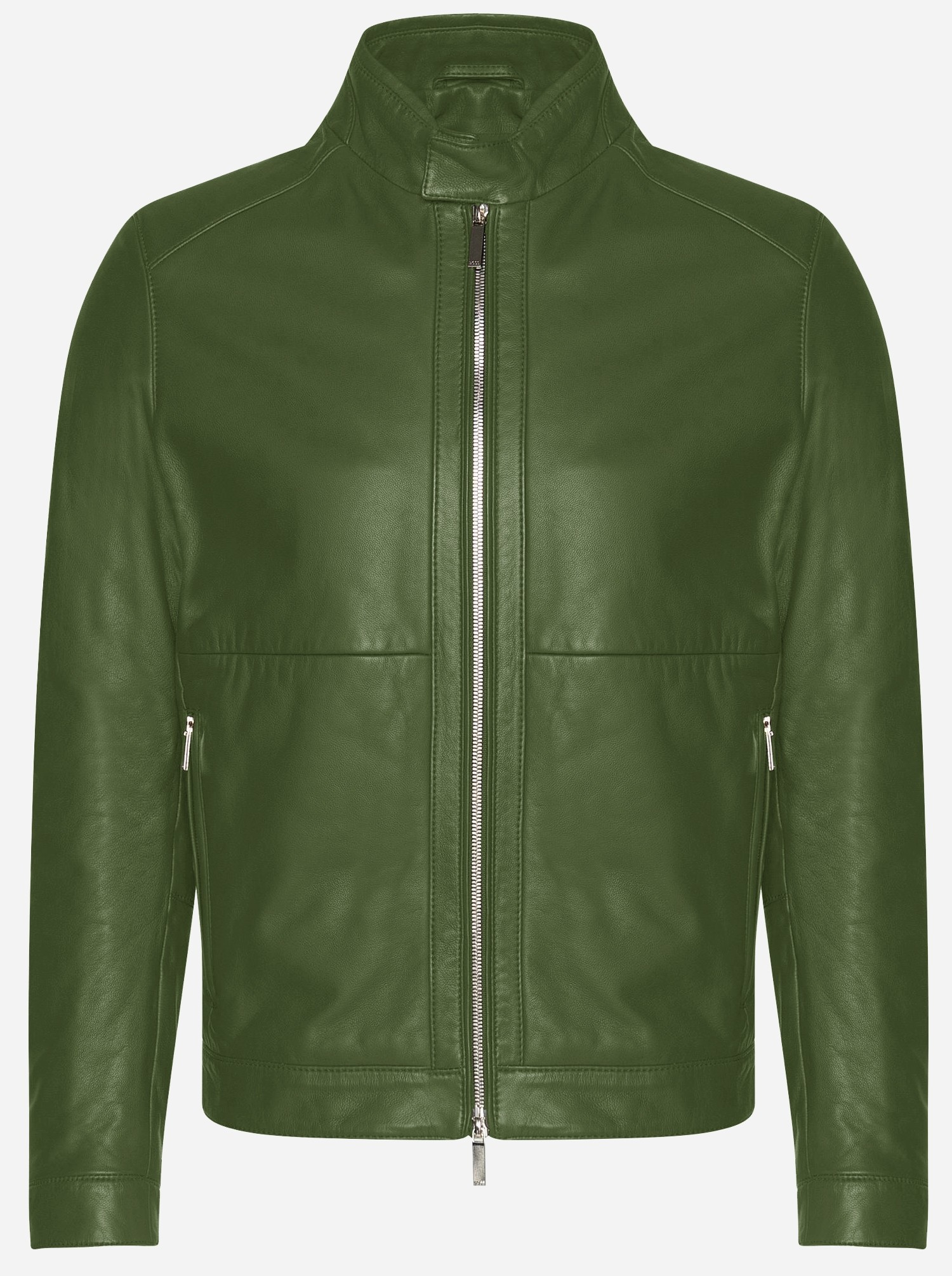 Premium Men Green Cowhide Leather Jacket