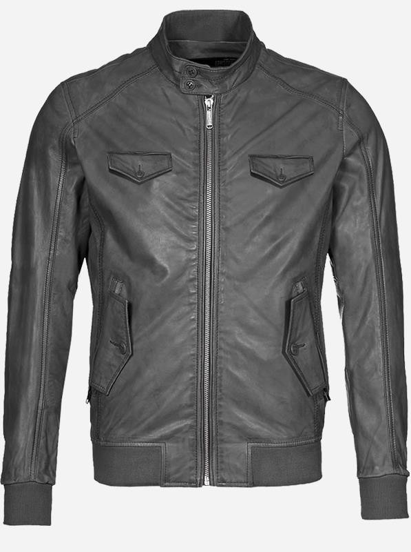 Regular Fit Men Gray Leather Jacket