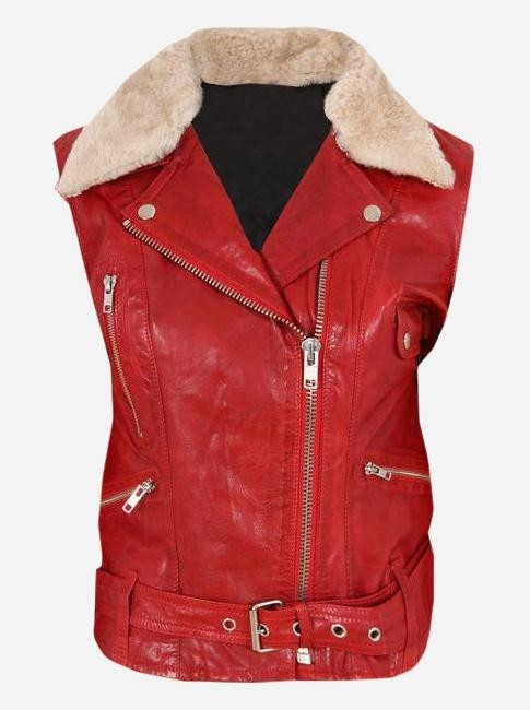 Sliced Moto Women's Fur Leather Vest