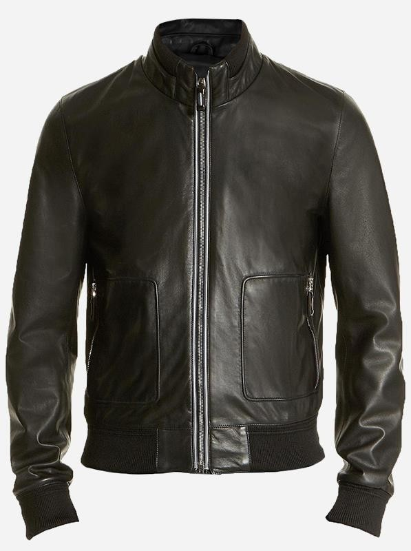 Soft Men Black Leather Bomber Jacket