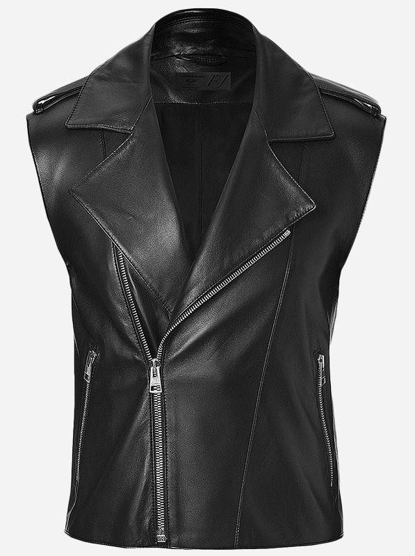 Street Wear Men Black Motorcycle Leather Vest