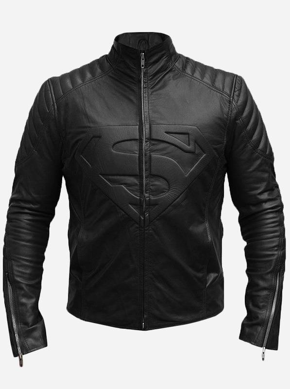 Superman Logo Black Leather Biker Jacket for Men