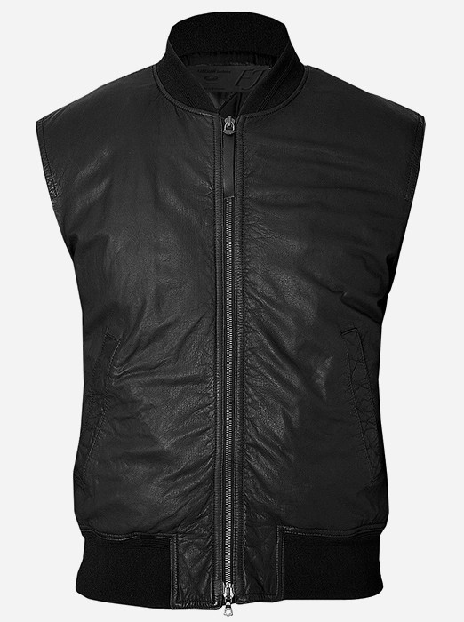 Black Motorcycle Leather Riding Vest for Men