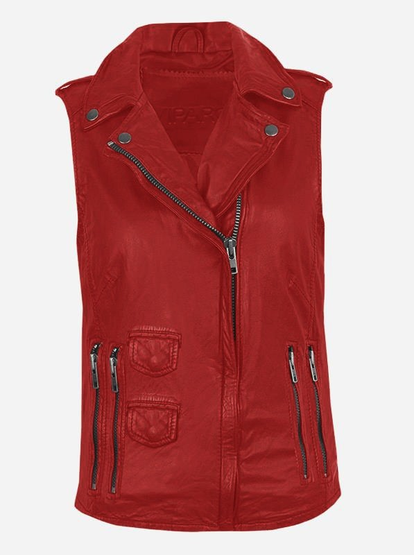 Timeless Moto Women's Red Leather Vest