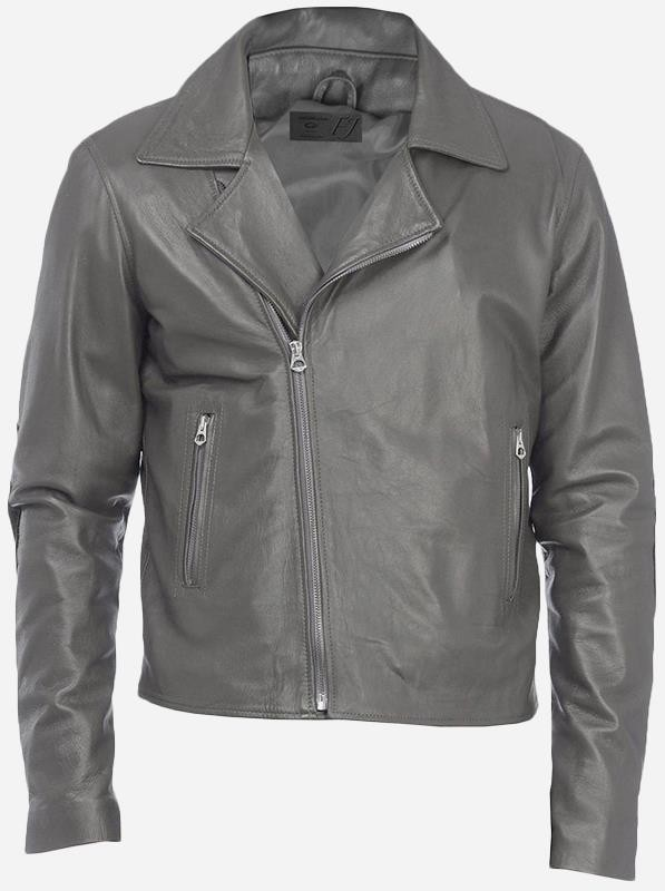 Vintage Look Men's Gray Leather Jacket