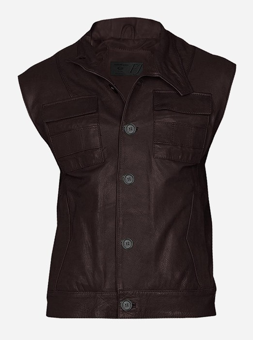 Men Brown Leather Biker Vest