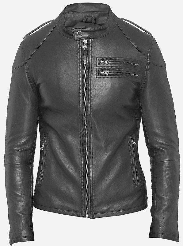 Winter Fashion Men's Gray Designer Leather Jacket