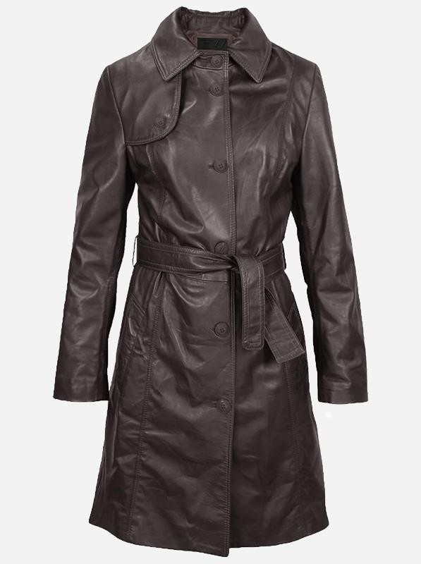Women's Brown Leather Trench Coat
