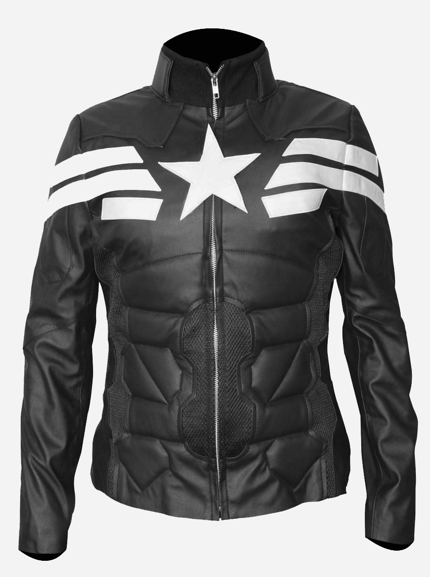 Women Captain America Winter Soldier Black Leather Jacket