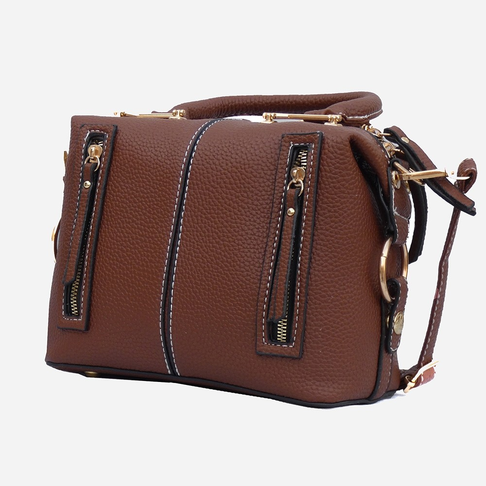 PU Leather Small Dashy Brown Shoulder Bag for Girls