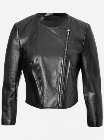 Round Neck Leather Jacket for Women