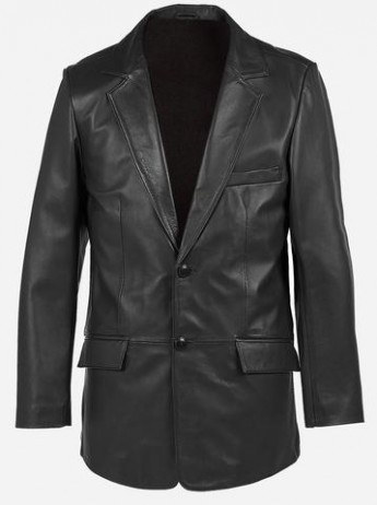 2 Buttons Classic Premium Black Cowhide Leather Coat for Men